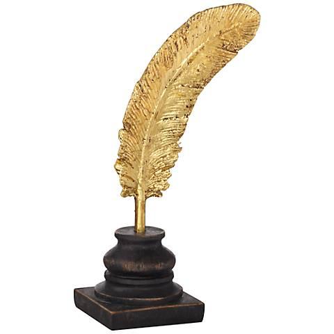 """Gold Leaf Feather 10"""" High Figurine"""