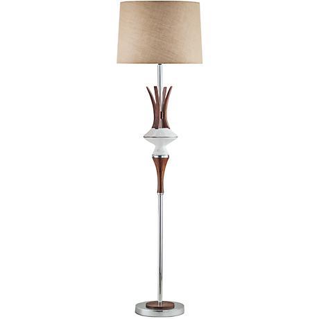 Nova Reina Walnut Jute Weathered White Floor Lamp
