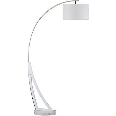 Nova Swan White Marble Chrome Steel Arc Floor Lamp