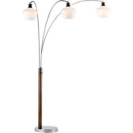 Nova Rumba Opal Glass 3-Light Medium Wood Arc Floor Lamp