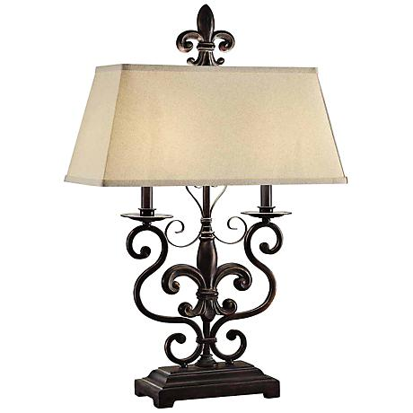collection le fleur de bronze metal table lamp 8j318 lamps plus. Black Bedroom Furniture Sets. Home Design Ideas