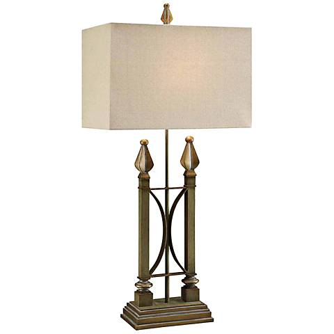 Crestview Collection Iron Side Green Gold Metal Table Lamp