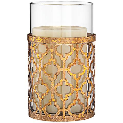 "Gold Lattice 6"" High Glass Hurricane Candle Holder"