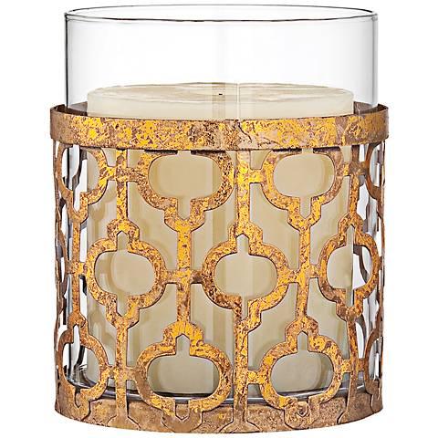 "Gold Lattice 4 1/2"" High Glass Hurricane Candle Holder"