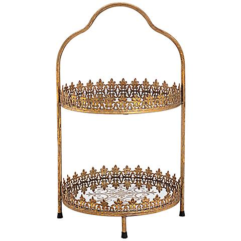 "Fluer de Lis Bronze Gold 21 1/2"" High Two Tier Cake Stand"