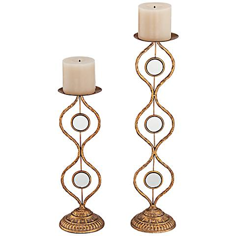Caryn Gold Pillar Candle Holders Set of 2