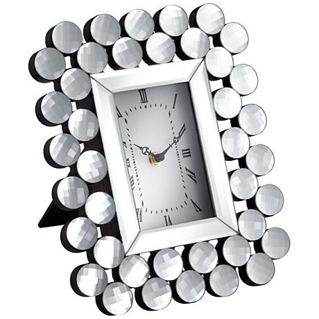 """Faywood Silver Mirrored Sphere 11"""" High Tabletop Clock"""