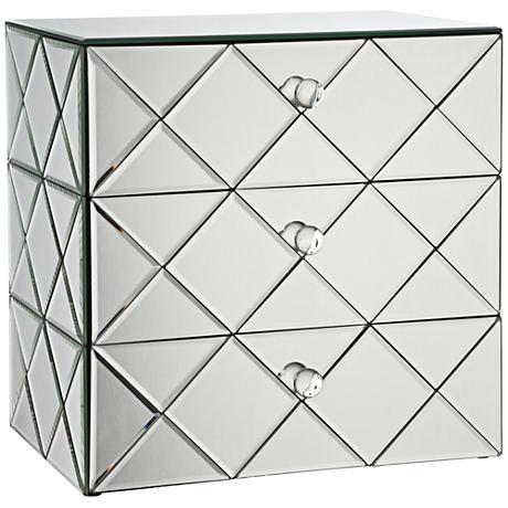 Newry 3-Drawer Silver Mirrored Jewelry Box