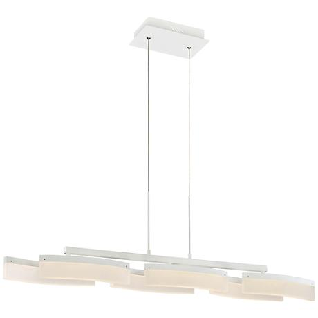 "Possini Euro Oppela 42"" W LED White Island Pendant Light"