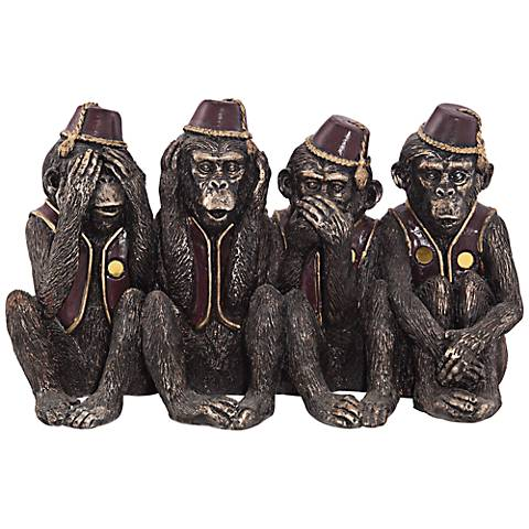"Monkeys in a Row 6"" High Figurine"