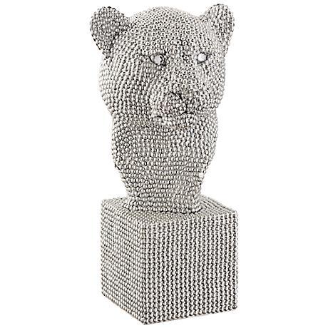 """Cheetah Bust 12 1/4"""" High Silver Statue"""