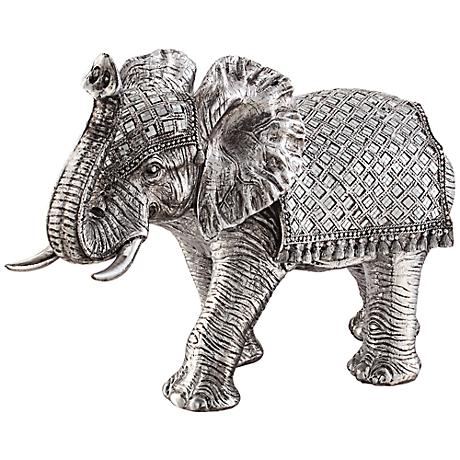 "Walking Elephant 12 3/4"" High Silver Statue"