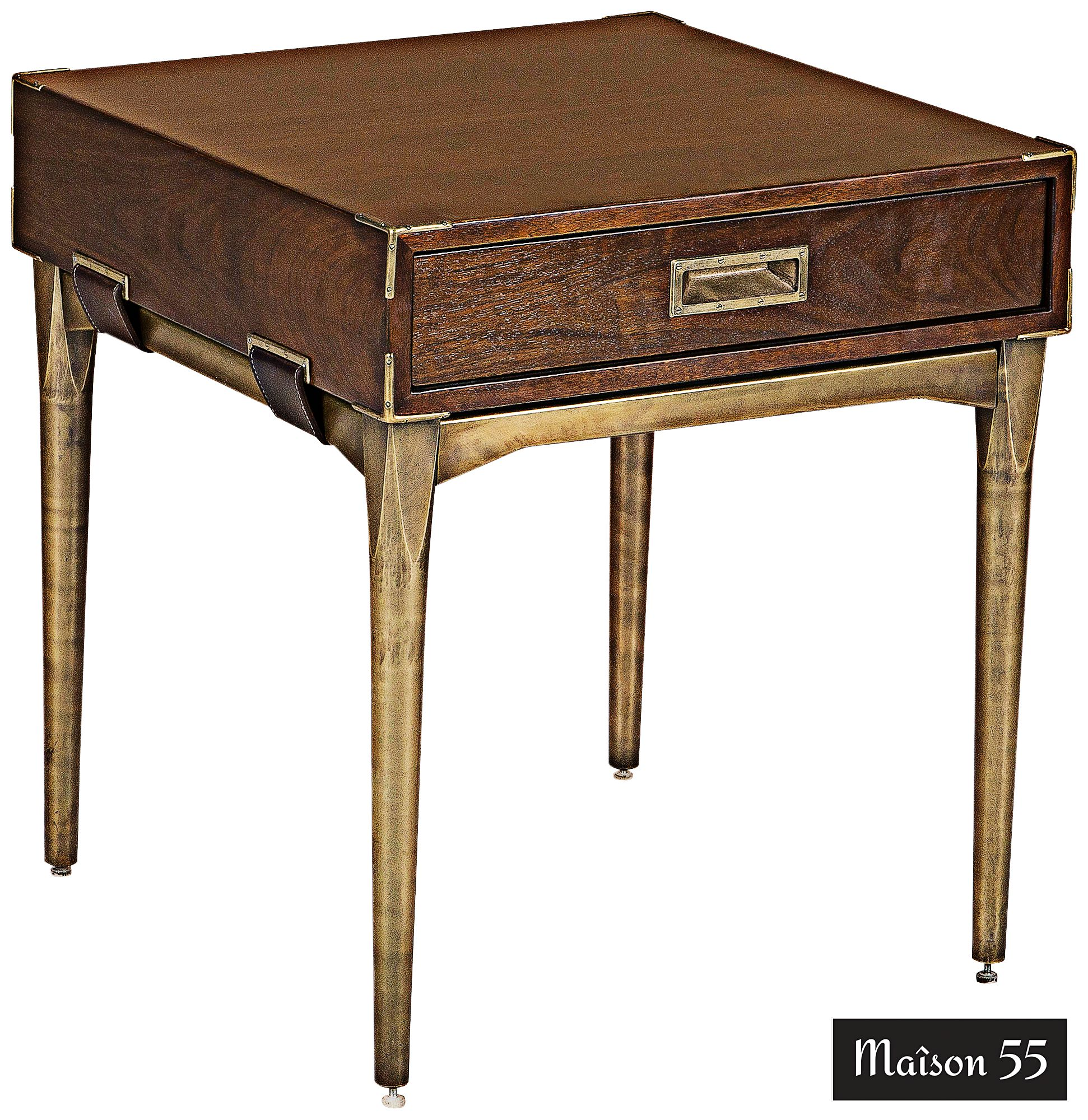 Durham Palissandro And Brass 1 Drawer End Table