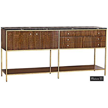 Copeland Black Marble Top and Walnut 3-Drawer Sideboard