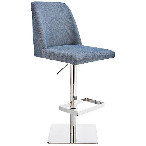 Piper Blue Herringbone Adjustable Barstool