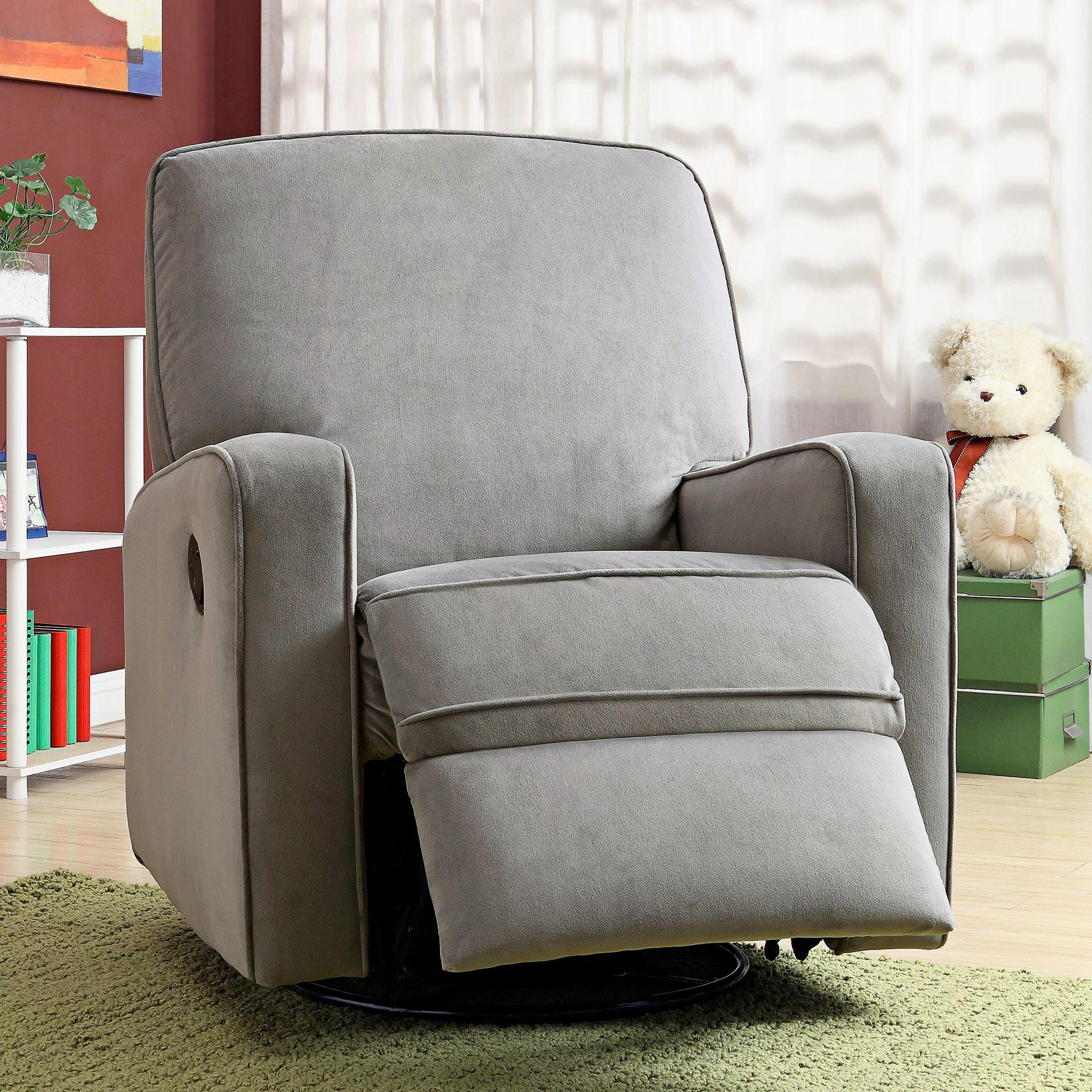 sutton stella zen gray upholstered swivel glider recliner