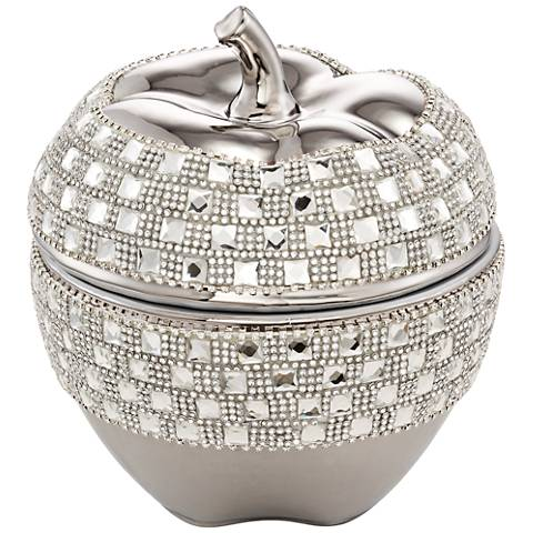 Victoire Silver and Crystal Apple Decorative Box