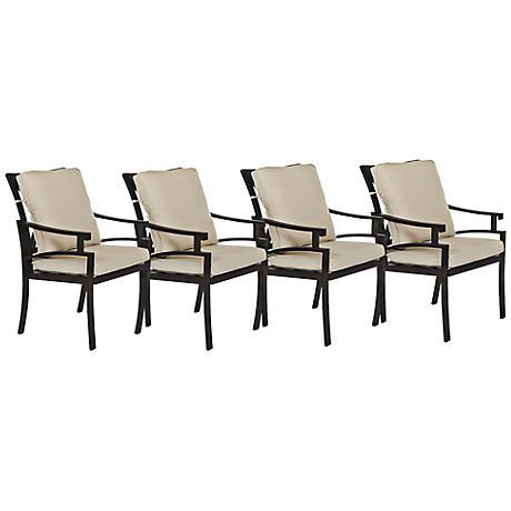 Klaussner Linder Dark Earth Outdoor Dining Chair Set of 4