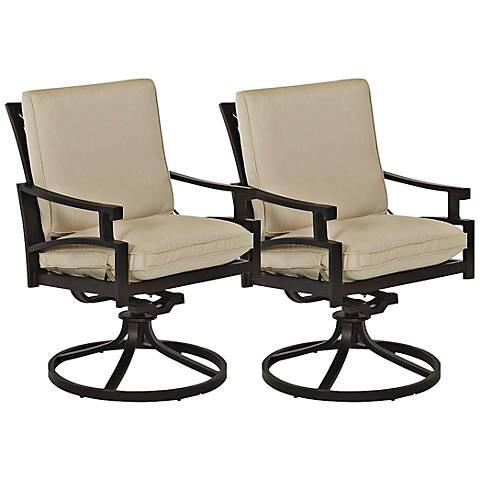 Klaussner Linder Dark Earth Outdoor Rocker Dining Chair Set of 2
