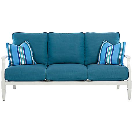 Klaussner Mimosa White and Blue Fabric Outdoor Sofa