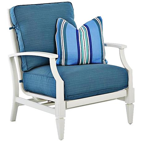 Klaussner Mimosa White and Blue Fabric Outdoor Armchair