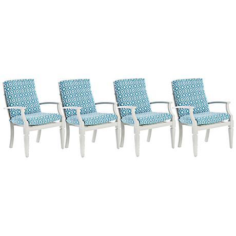 Klaussner Mimosa White and Blue Outdoor Dining Chair Set of 4