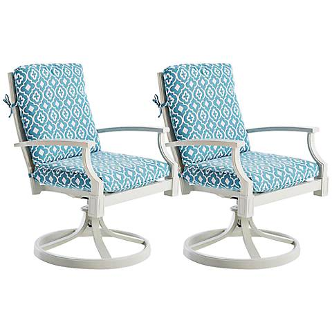 Mimosa White and Blue Outdoor Rocker Dining Chair Set of 2