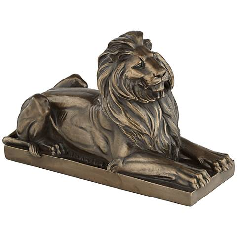 "Resting Lion Facing Right 14"" Wide Figurine"