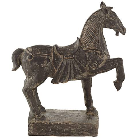 """Brown Standing Horse 13"""" High Decorative Statue"""