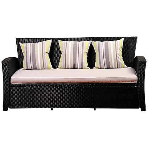 Atlantic Staffordshire Black Wicker Outdoor Sofa