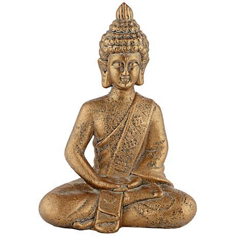 "Gold Meditating Buddha 13"" High Decorative Sculpture"
