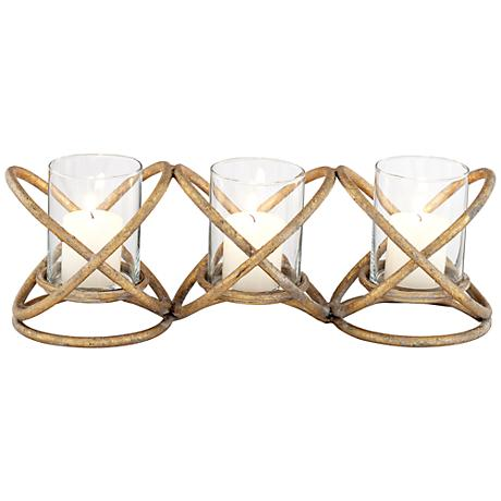 Alford Copper Criss Cross Votive Candle Holders