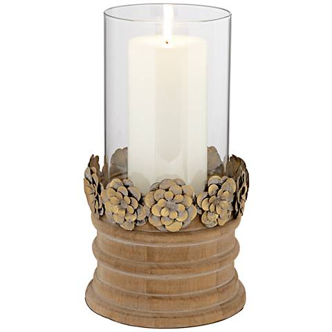 Louin Copper Floral Pillar Candle Holder