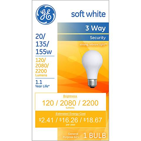 GE Soft White 3-Way 20-135-155 Watt Security Light Bulb