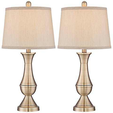 Becky Brass 9 Watt Non-Dimmable LED Table Lamp Set of 2