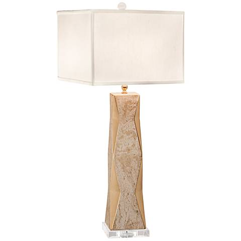 Thumprints Geo Marbled Gold Ceramic Table Lamp