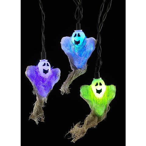 Burlap Happy Ghost 10-LED Color-Changing String Light