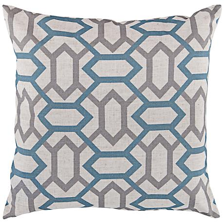 "Surya Connect the Diamonds Blue 18"" Square Throw Pillow"
