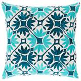 "Surya Floral Geo Teal Blue 18"" Square Floral Throw Pillow"