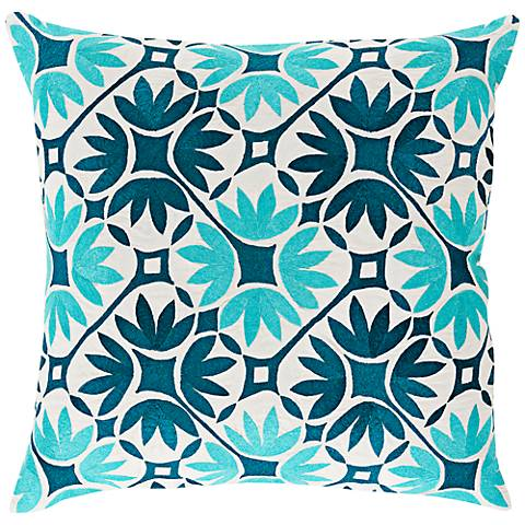 """Surya Floral Geo Teal Blue 18"""" Square Floral Throw Pillow"""