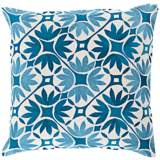 "Surya Floral Geo Blue 18"" Square Floral Throw Pillow"