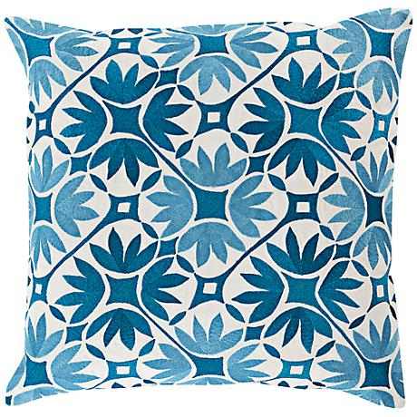 """Surya Floral Geo Blue 18"""" Square Floral Throw Pillow"""