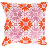 "Surya Floral Geo Orange 18"" Square Floral Throw Pillow"