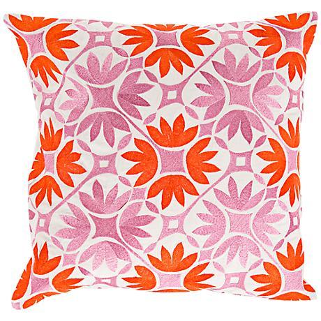 "Surya Floral Geo Orange 18"" Square Floral Throw Pillow"