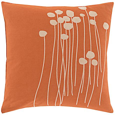 "Surya Blooming Buds Coral 18"" Square Throw Pillow"