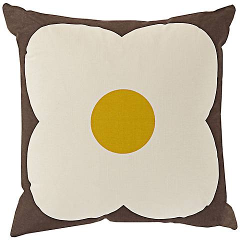 "Surya Abascus Brown and Yellow 18"" Square Throw Pillow"