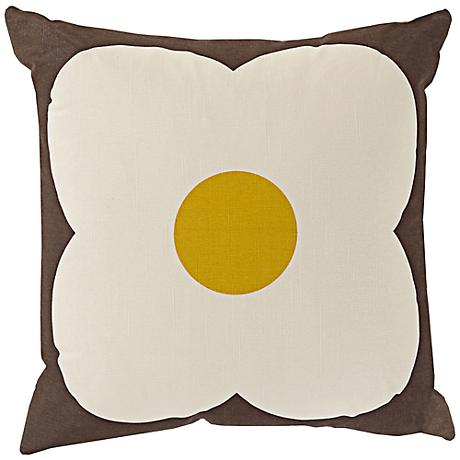 """Surya Abascus Brown and Yellow 18"""" Square Throw Pillow"""