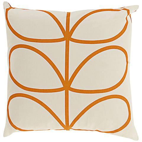 "Surya Long Line Leaf Burnt Orange 18"" Square Throw Pillow"