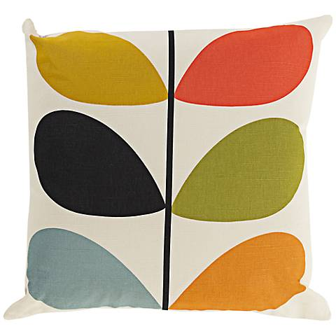 """Surya Long Line Leaf Multi-Colored 18"""" Square Throw Pillow"""