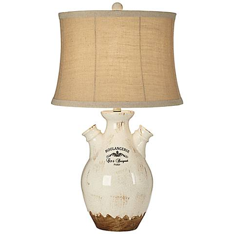 Boulangerie Crackle Milk Ivory Ceramic Table Lamp